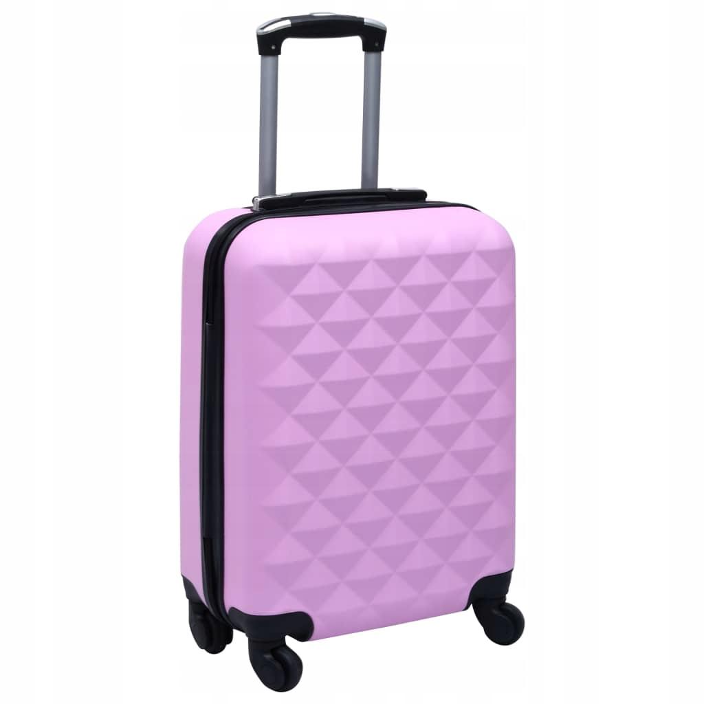 Twarda walizka na kółkach, różowa, ABS