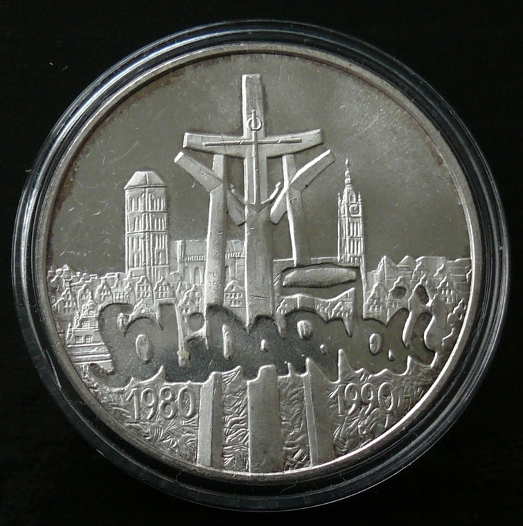 100000 zł 1990 - SOLIDARNOŚĆ - srebro Ag w kapslu