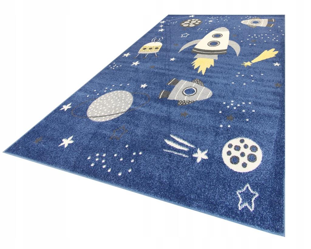 Dywan dla dzieci kosmos 80x150 niebieski obszyty