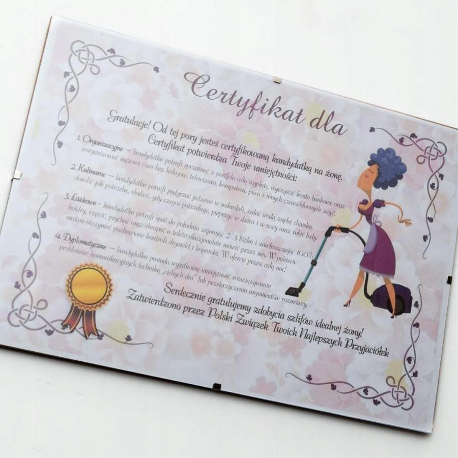 Certyfikat Przyszlej Zony W Antyramie 8463279712 Oficjalne Archiwum Allegro