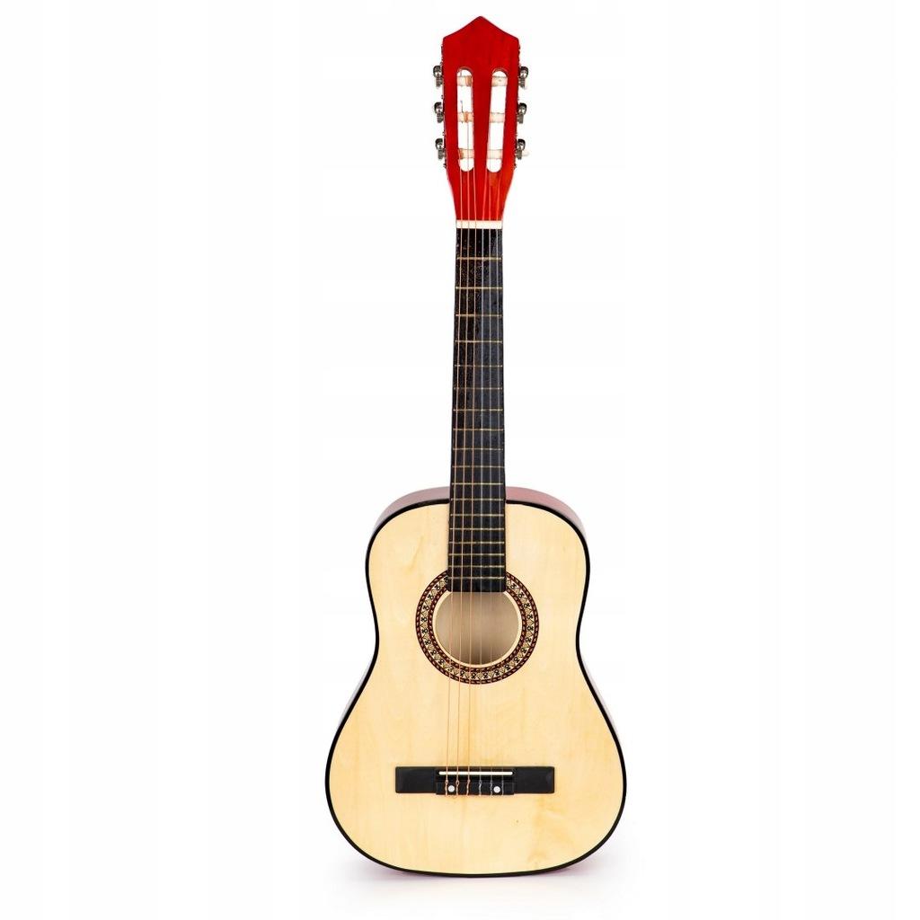 Gitara dla dzieci duża drewniana 6 strun ECOTOYS E