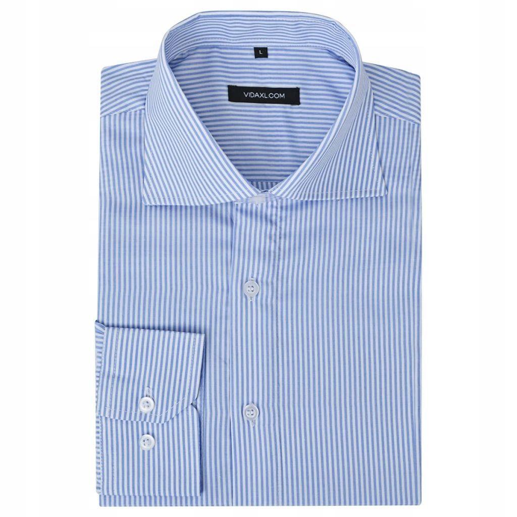 Męska koszula biznesowa biała w niebieskie paski r  77N6V