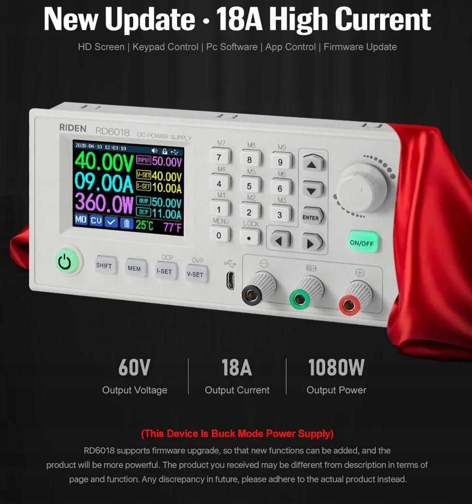 Przetwornica multimetrem RD6018W 60V 18A RIDEN