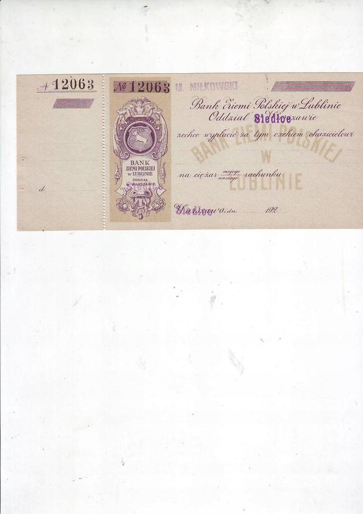 Bank Ziemi Polskiej w Lublinie, czek przedwojenny
