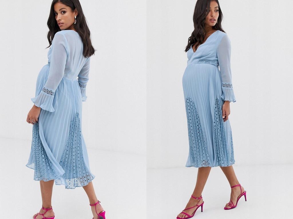 DESIGN Plisowana midi sukienka ciążowa z koronką L