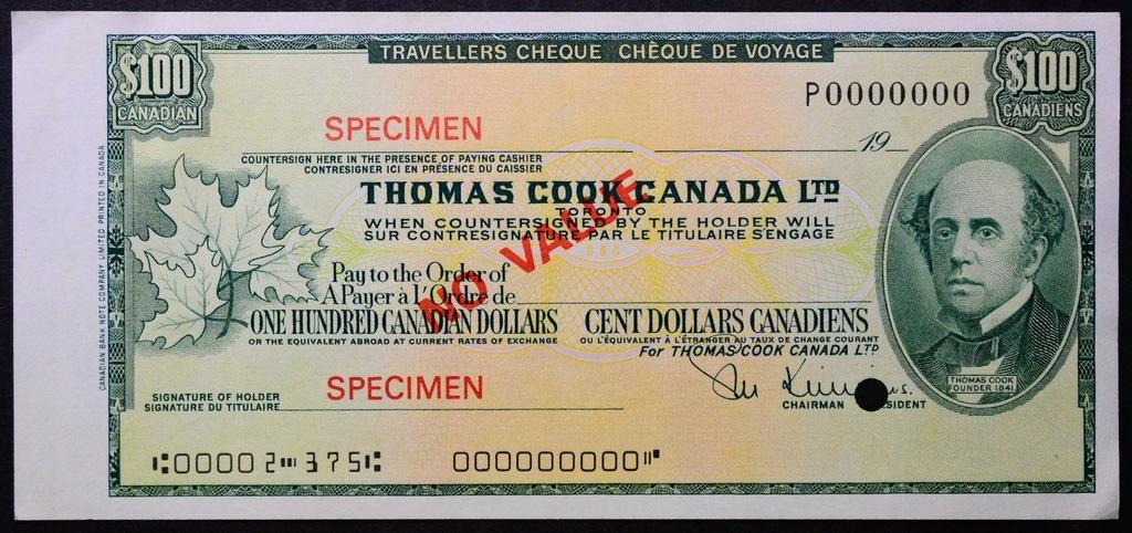 7.db.Canada, Czek Podróżniczy 100 Dolarów ..,St.1-