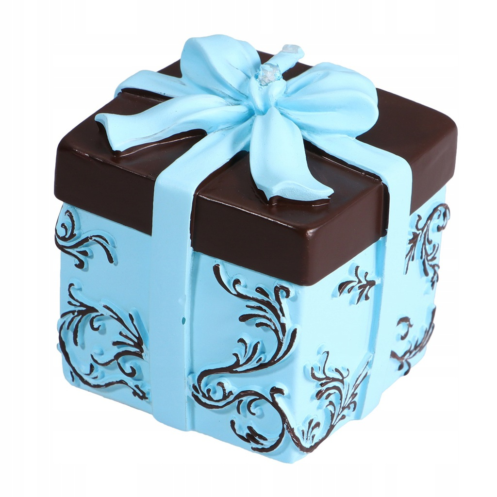 Blue Artificial Gift Box Shape Candle Sweet Deskto