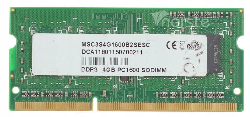 4GB 1600 DDR3 MSC PC3-12800s MSC3S4G1600B2-SESC