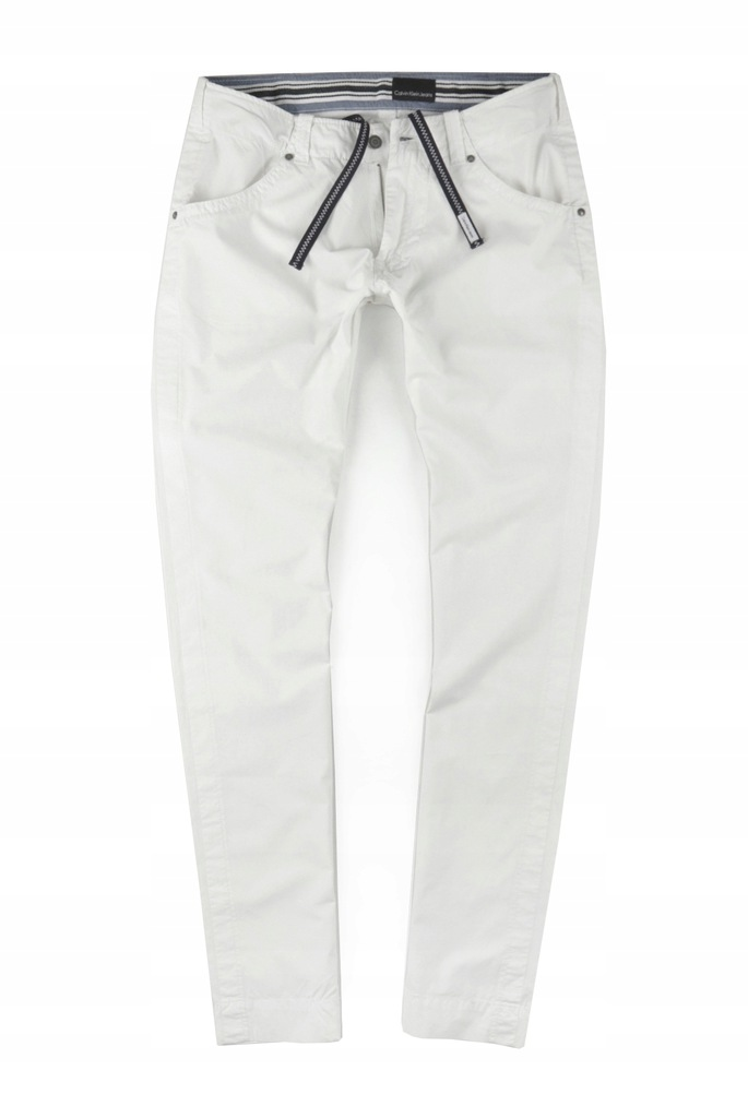 CALVIN KLEIN białe cienkie SLIM r: 31/34 PAS: 84cm