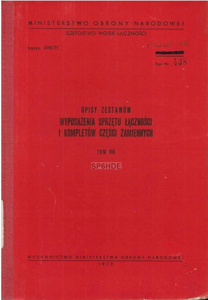 Opis zestawów wyposażenia sprzętu łączności, tom 8