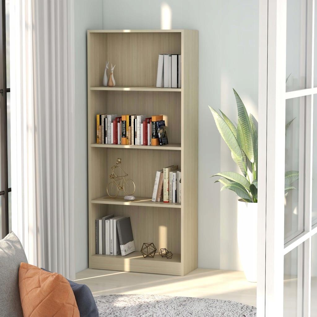 4-poziomowy regał na książki, dąb sonoma, 60x24x14