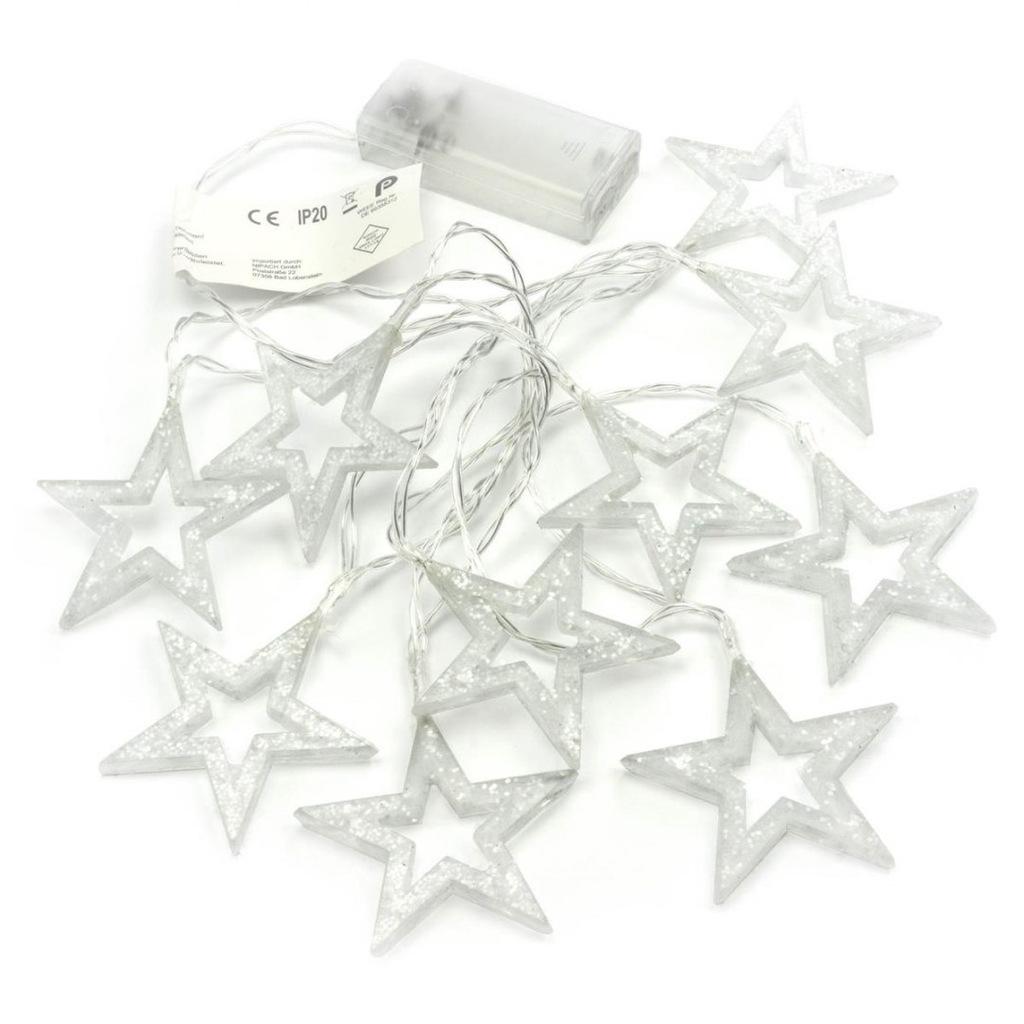 Zestaw 2 20 LED Fairy Lights Błyszczące gwiazdki C