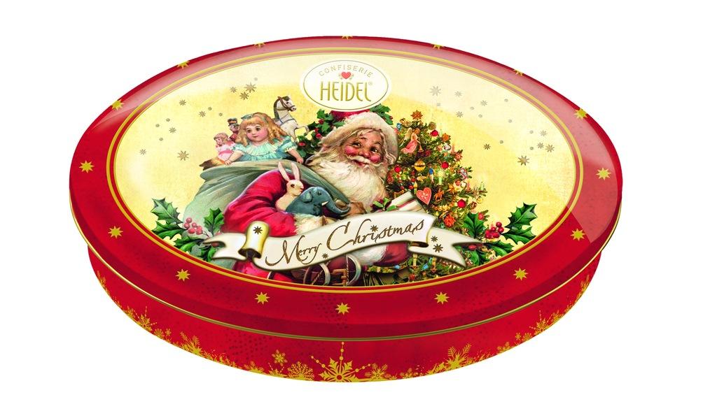 Piękna świąteczna puszka z czekoladkami
