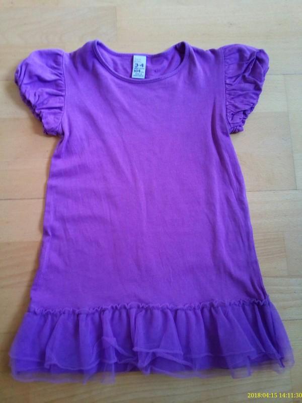 Fioletowa tunika z tiulową falbanką 104 Zara Kids