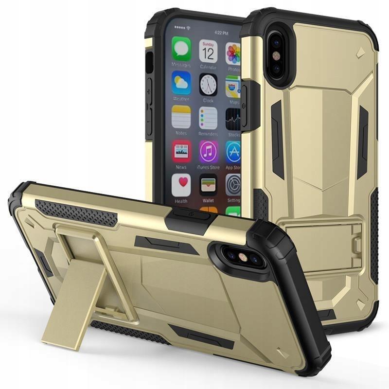 Pancerne etui iPhone X z podstawką (Gold/Black)