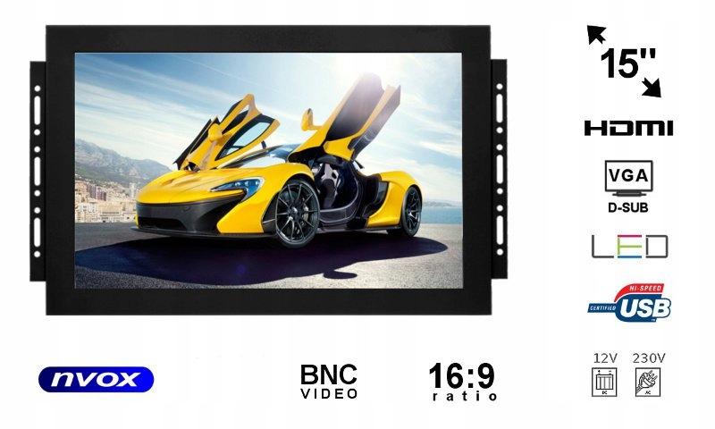 Monitor open frame led 15cali vga hdmi bnc usb 12v