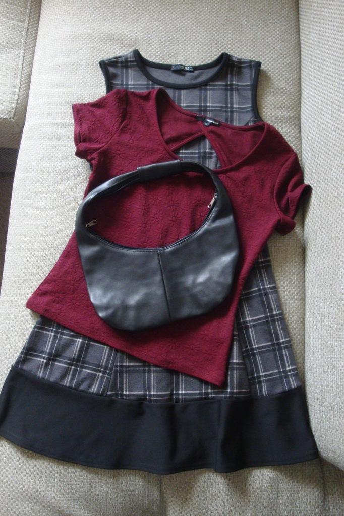 Zestaw damski: Sukienka+bluzka+ torebka rozm.38
