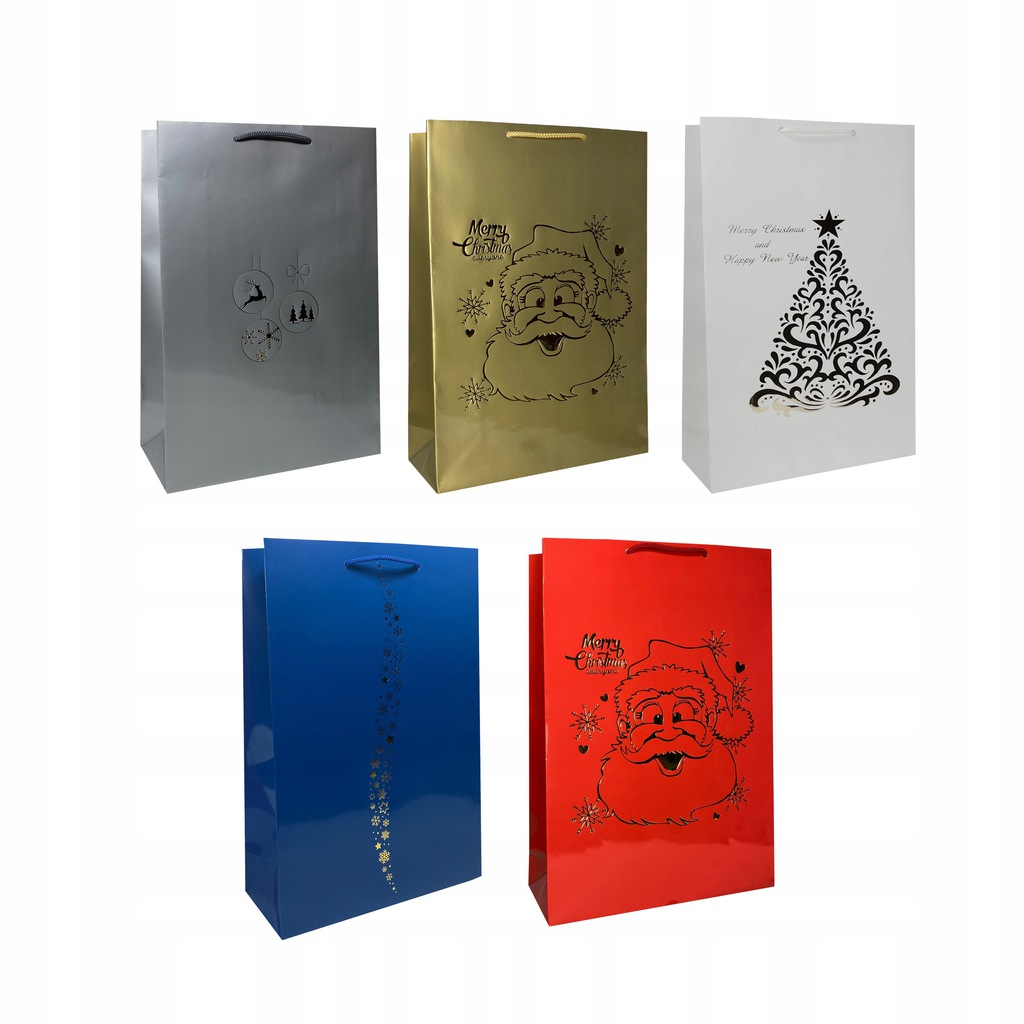 Torebki świąteczne prezentowe - zestaw 5 szt.