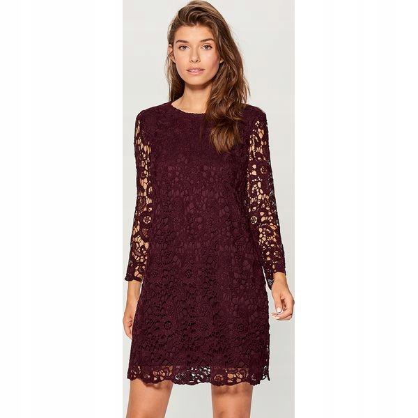 sukienka z koronki gipiurowej + kopertówka R 44