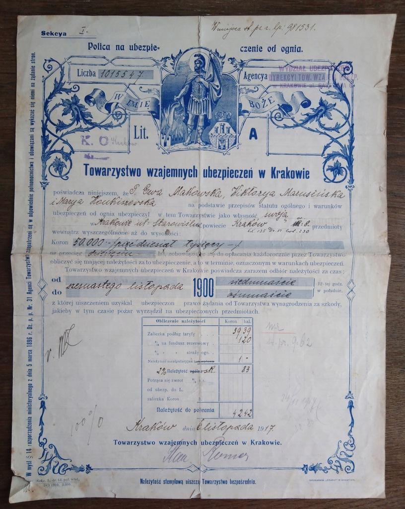 Polisa ubezpieczeniowa od ognia. Kraków 1917