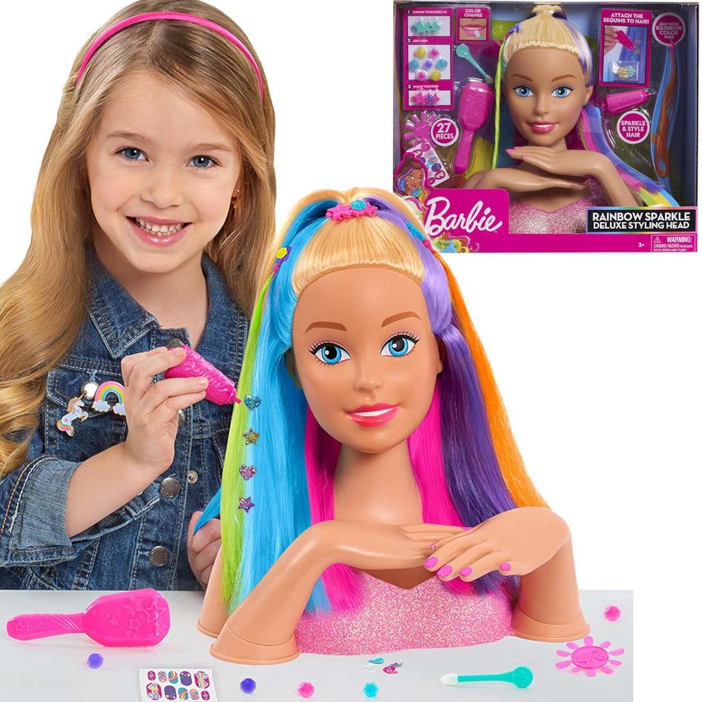 Lalka Barbie Glowa Do Stylizacji Teczowe Wlosy 8534307212 Oficjalne Archiwum Allegro