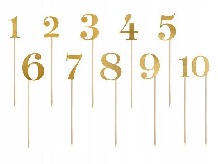 Numery na stół, złoty, 25,5-26,5cm 11 szt.