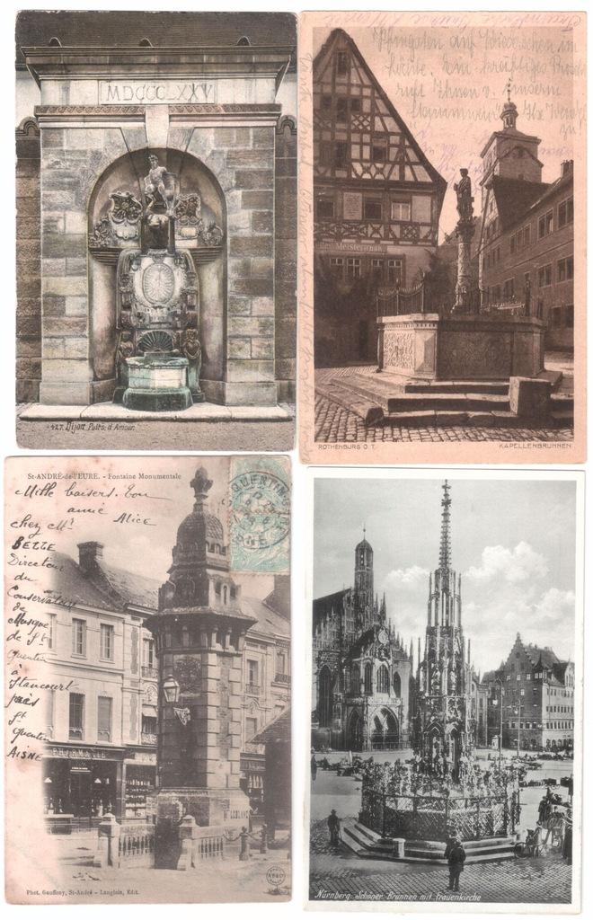 Stare pocztówki FONTANNA (4 szt.) 4F71