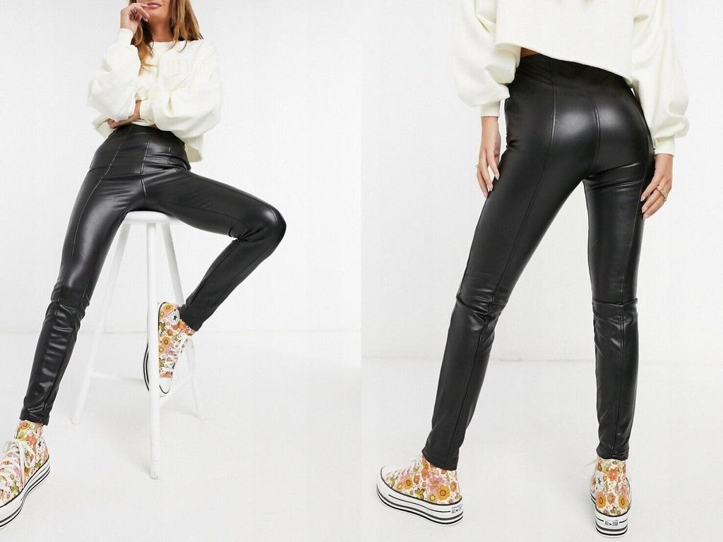 New Look Czarne legginsy z imitacji skóry XL