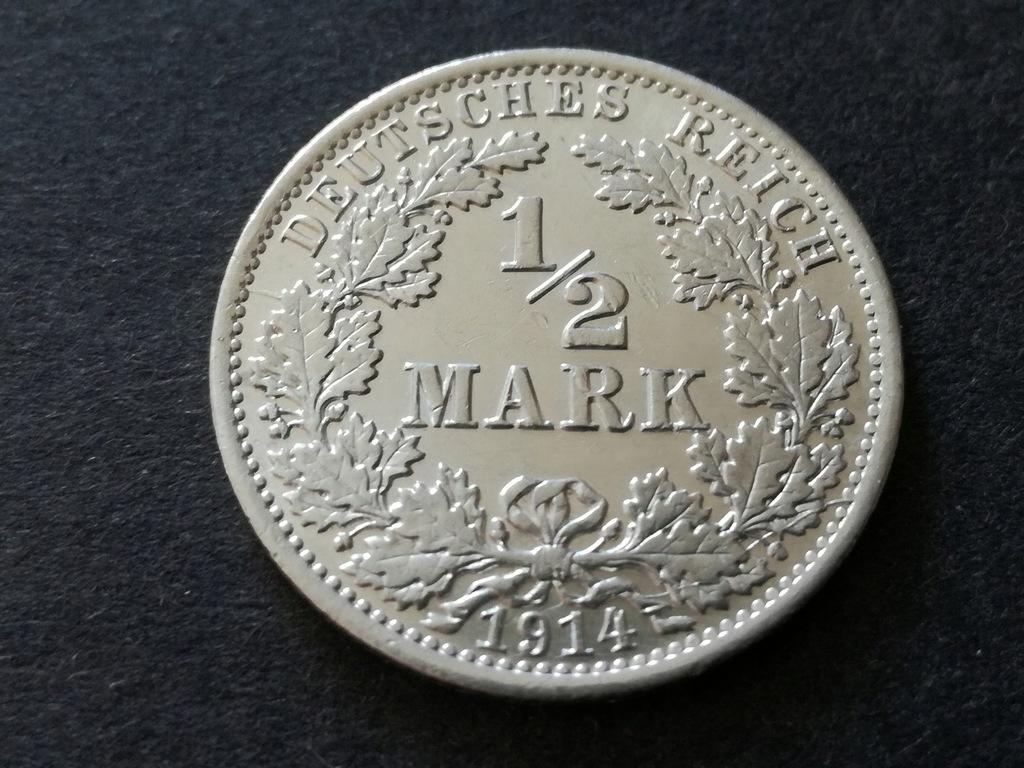 Moneta 1/2Mark z 1914r. Srebro!!!