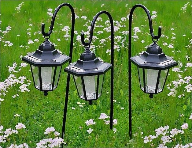 Lampy solarne LED, 3 sztuki w kształcie latarni, z