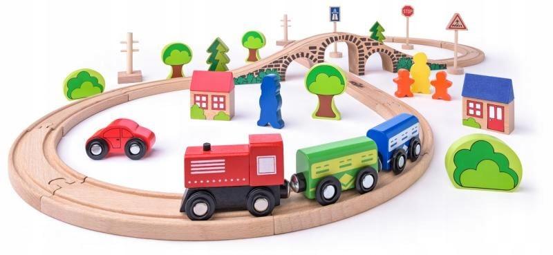 Woodyland Kolejka drewniana 40el Ósemka dla dzieci