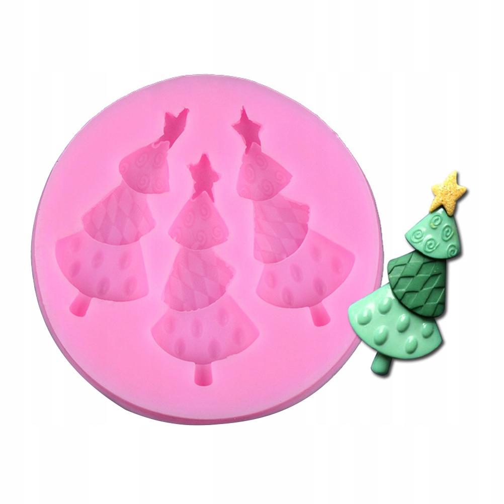 Cute Round Shape Christmas Tree Cake Fondant Silic