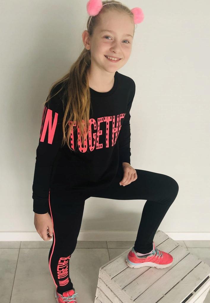 Asymetryczny komplet - Neon - legginsy bluza 164