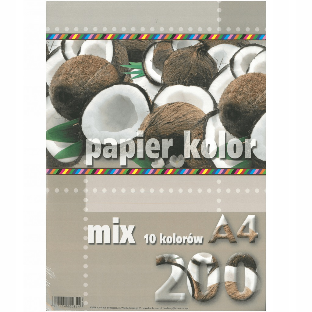 Papier kolor A4 80g/m2 mix 10-kolorów 200 k Kreska