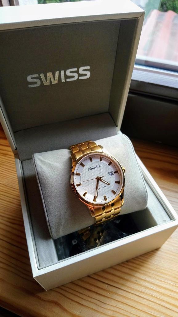 Adriatica zegarek męski złoty gwarancja, jak nowy.