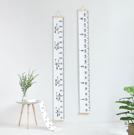 STYLOWA Miarka wzrostu płótno wisząca 200cm liczby