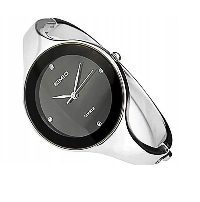 Zegarek ELEGANCKI Srebrny CZARNY bransoletka