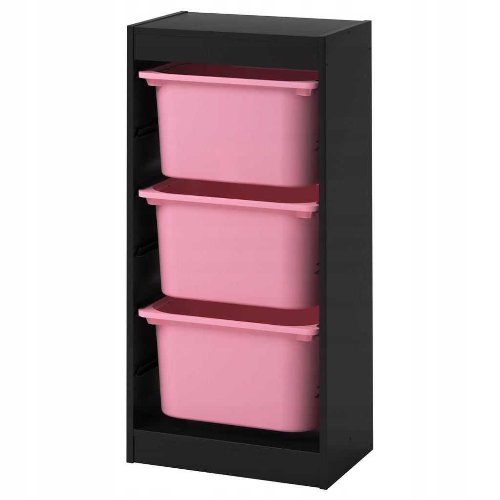 IKEA TROFAST Regał z pojemnikami,czarny, różowy