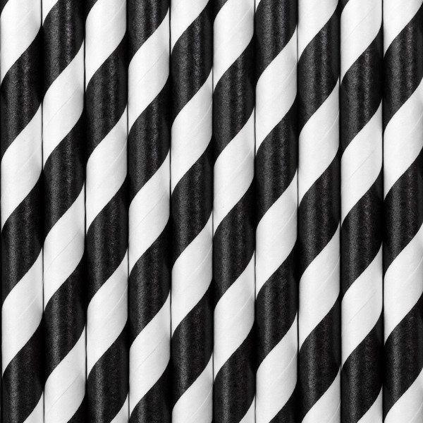 Słomki papierowe, czarny, 19,5cm (1 op. / 10 szt.)