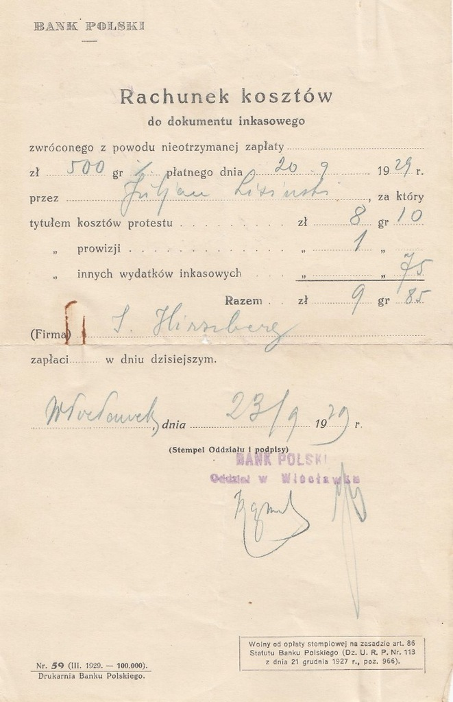 Bank Polski 1929 rachunek za weksel judaika