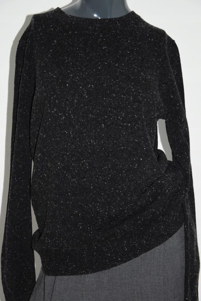 cos grafitowy sweter melanż 100% wełna r.XS/34 S