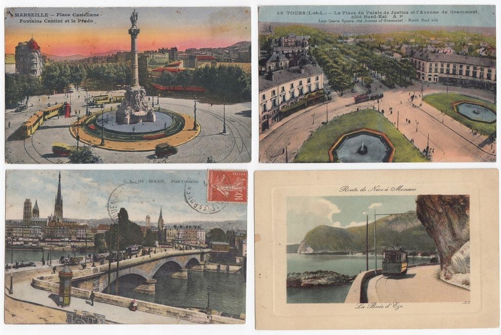 Stare pocztówki FRANCJA TRAMWAJ (4 szt.) 4T71