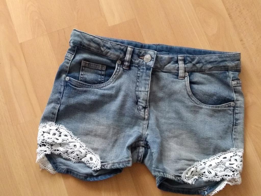 Spodenki jeansowe szorty koronka S damskie