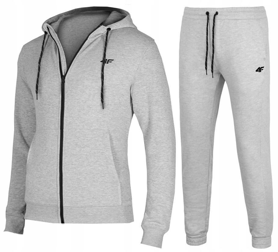 4F MĘSKIE Bluza Spodnie DRESY KOMPLET J.Szary L