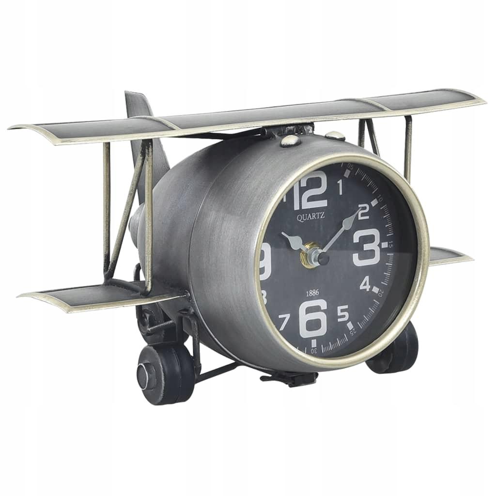 Zegar stołowy, szary, 26,5 x 19,5 x 15 cm, żelazo