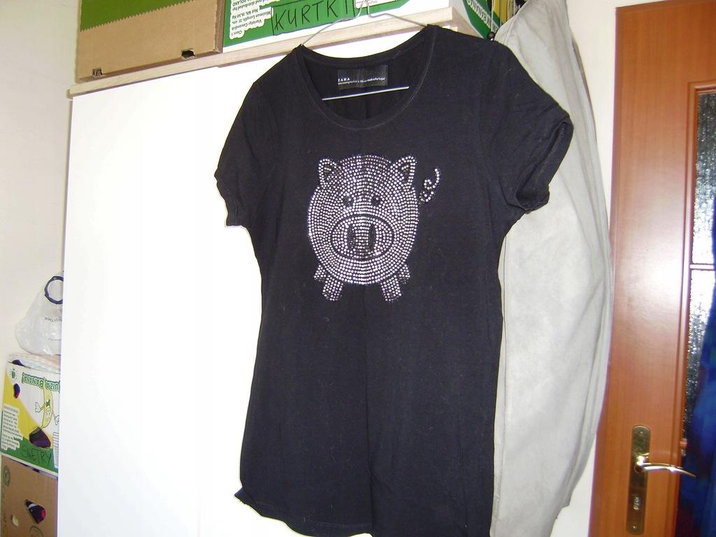 Bluzeczka ZARA 40, czerń z aplikacją, bawełna