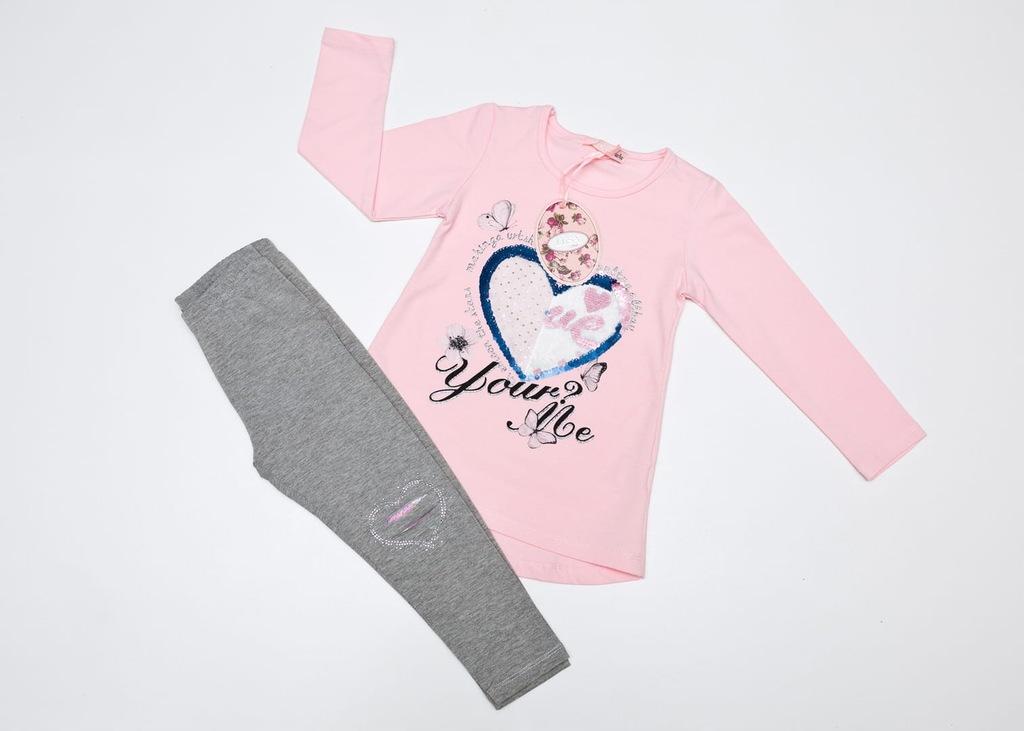 Komplet długi rękaw bluzka spodnie róż 110/116