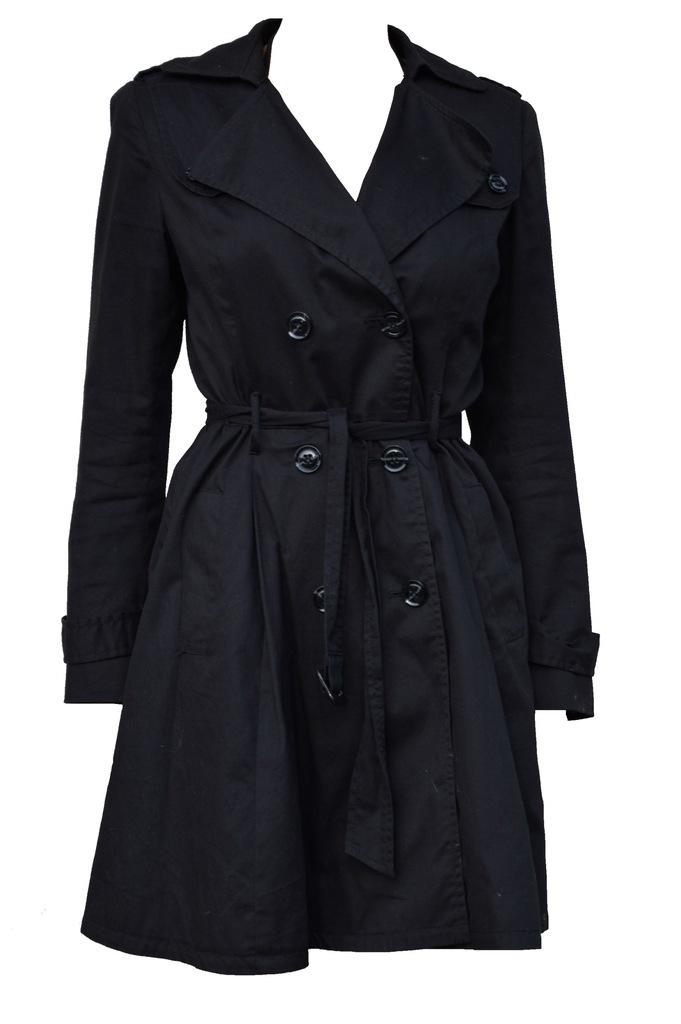 Płaszcz trencz PROMOD czarny roz. 36 rozkloszowany