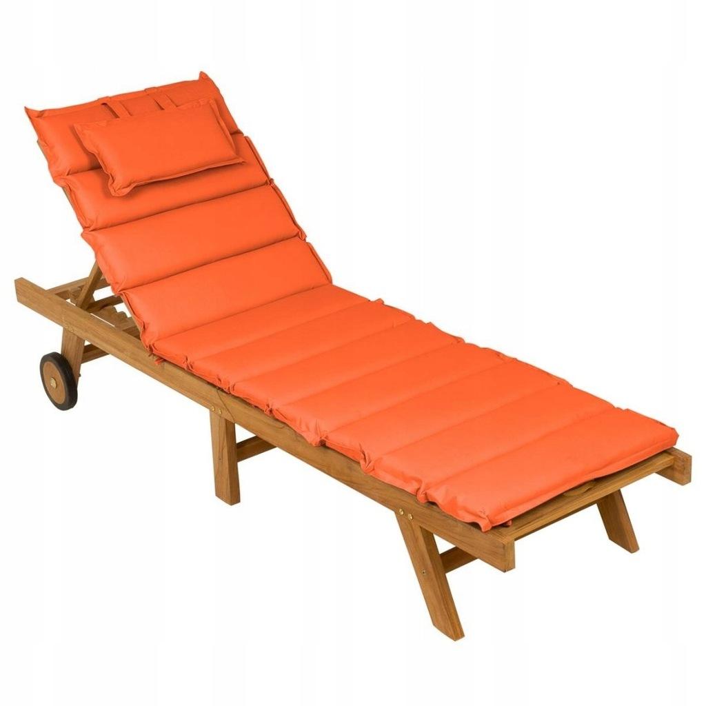 Leżak ogrodowy składany drewno teakowe pomarańczow