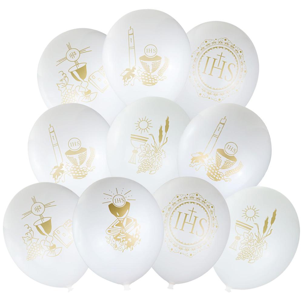 Balony Na Komunię Białe Dekoracje Zestaw 10szt